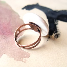 White Dot Adjustable Ring