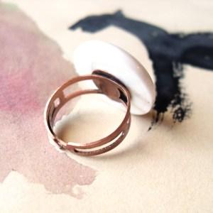 White Dot Adjustable Ring