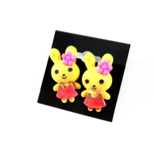Kawaii Critters Earrings Yellow Rabbits by Wilde Designs