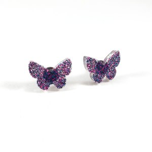 Galaxy Butterflies Glittery Resin Earrings by Wilde Designs