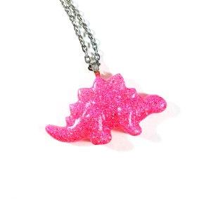 Kawaii Stegosaurus Necklace in Neon Pink by Wilde Designs