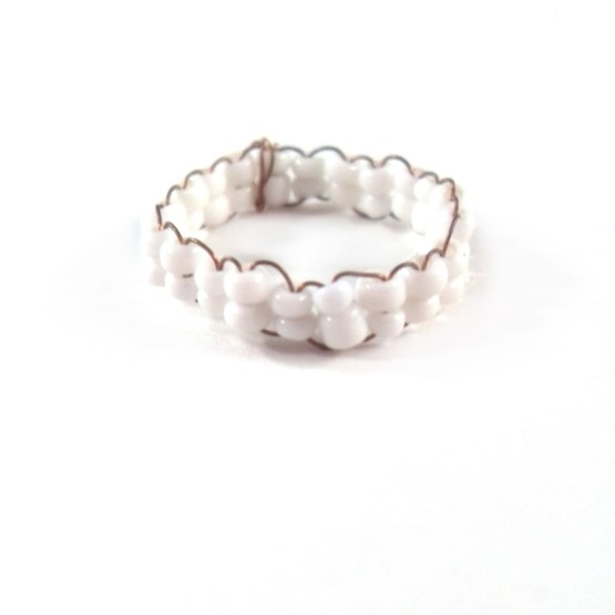 White Bead Ring by Wilde Designs