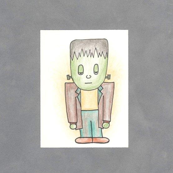 Kawaii Frankenstein's Monster Art Card by Wilde Designs