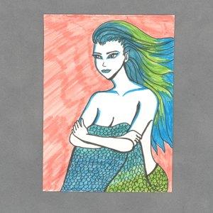 Sunset Mermaid Art Card by Wilde Designs