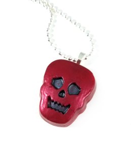 Spooky Skull Resin Necklace in Dark Red by Wilde Designs