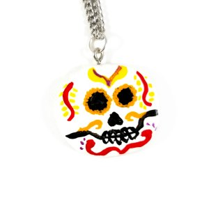 Vibrant Swirls Day of the Dead Necklace by Wilde Designs