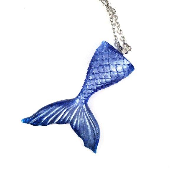 Resin Mermaid Tail Necklace in Deep Blue by Wilde Designs