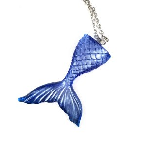 Resin Mermaid Tail Necklace in Deep Blue by Wilde Designs