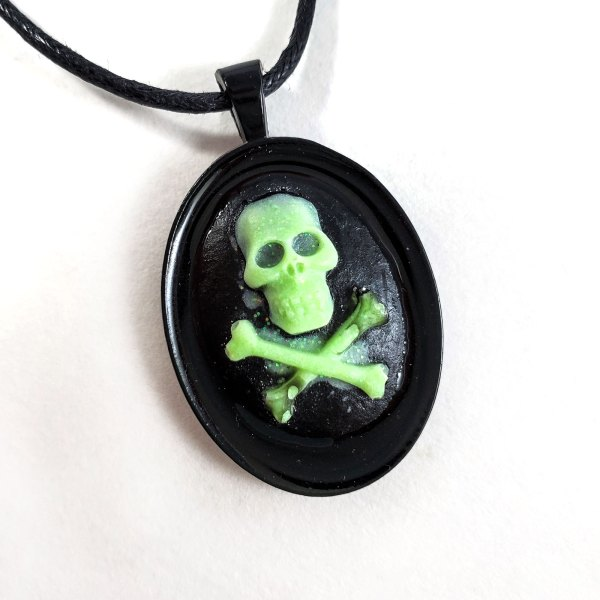 Glow in the Dark Skull and Crossbones Cameo Necklace by Wilde Designs