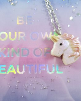 Pastel Goth Unicorn Resin Necklace by Wilde Designs