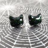 Pretty Kitty Earrings in Green Glitter by Wilde Designs