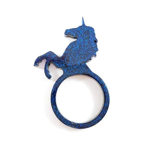 Deep Blue Glitter Unicorn Ring by Wilde Designs