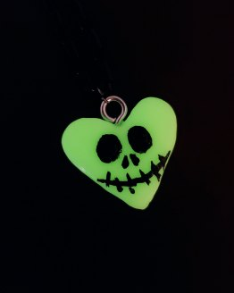 Jack Skellington Glow in the Dark Heart Necklace by Wilde Designs