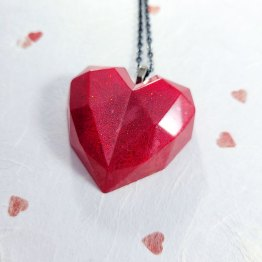 Geometric Red Heart Necklace by Wilde Designs