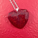 Glittery Red Geometric Heart Necklace by Wilde Designs