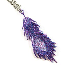 Galaxy Peacock Feather Necklace by Wilde Designs