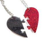 Red & Gray Heart Necklace Set by Wilde Designs