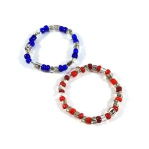 Translucent Patriotic Bead Ring Set by Wilde Designs