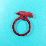 Glittery Red Triceratops Ring by Wilde Designs