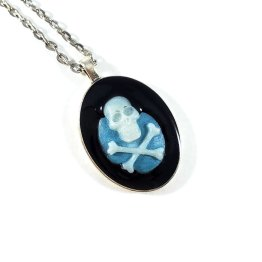 Creeping Darkness Skull & Crossbones Cameo Necklace by Wilde Designs