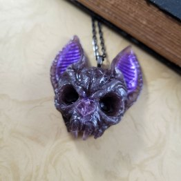 Flying Death Bat Skull Necklace by Wilde Designs