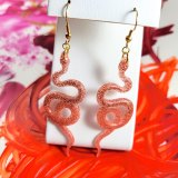 Slithery Snake Earrings in Orange and Red