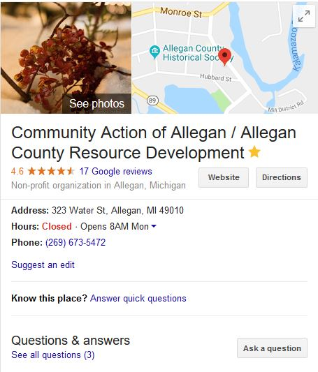 community action caac google my business listing