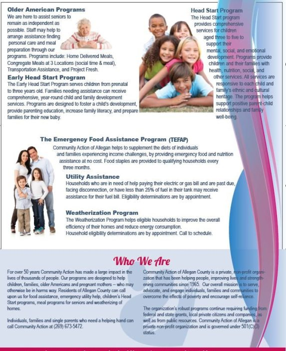 brochure design from wilder marketing for a non-profit client, Community Action. Tri-fold brochure page 1