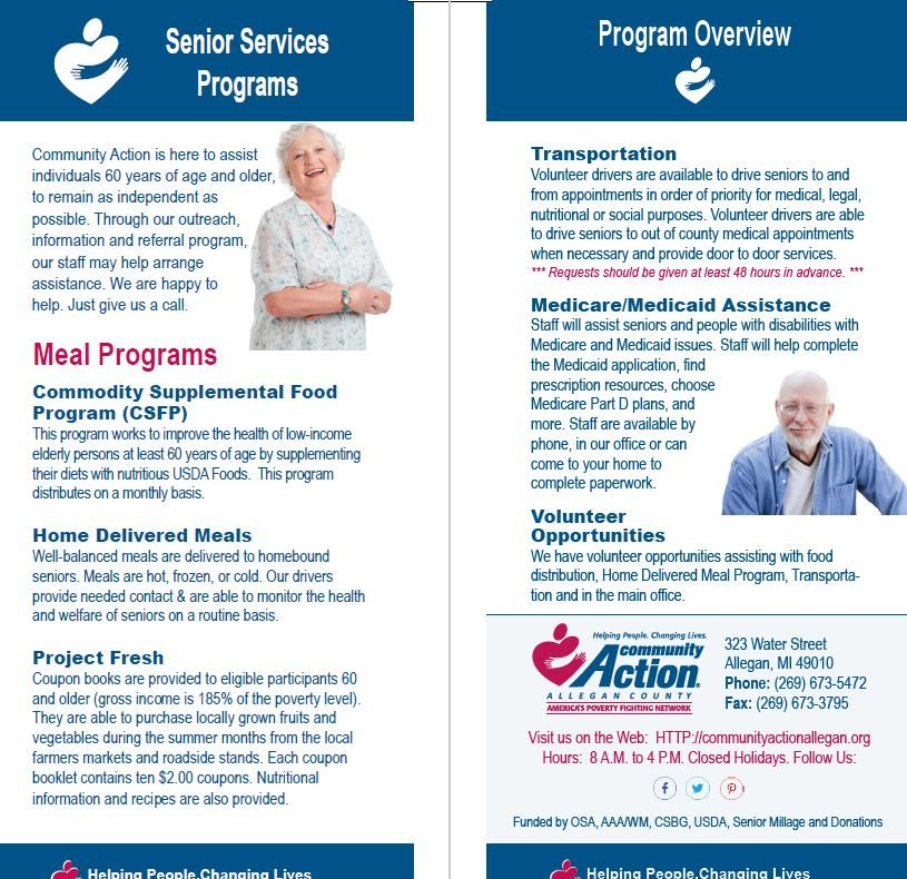 Senior Services Insert, Front/Back that inserts into a master tri-fold brochure
