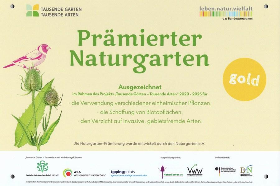 Prämierter Naturgarten Gold im Projekt Tausende Gärten - Tausende Arten
