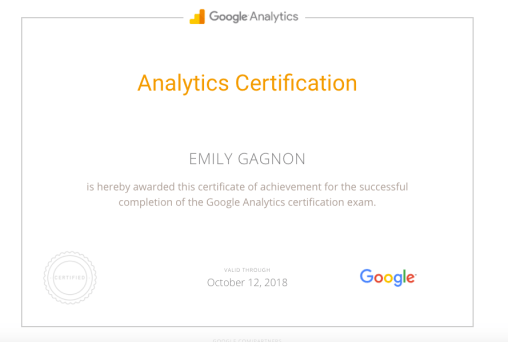 Gagnon, E. (12 April 2017). Analytics Certification [Screenshot].