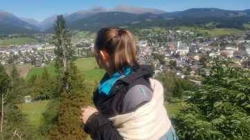 View on Tamsweg from Sankt Leonhard Church including me and my daughter on my back