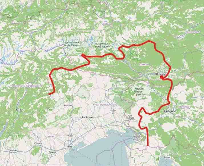 Wolf Slavko migration route from Slovenia to Italy via Austria in 2011