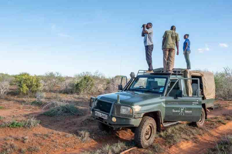 Kyalo, Christine and Catana of the Hirola Monioring Team with Tsavo Trust