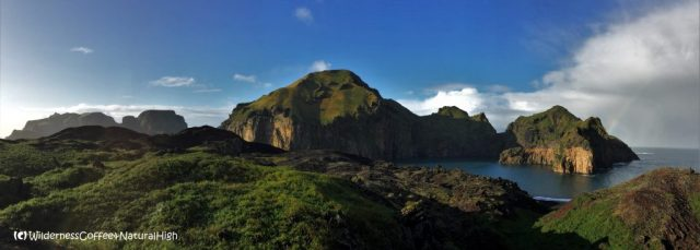 Heimaey harbour and lava fields, Vestmannaeyjar walking tracks, Iceland