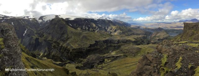 View from Útigönguhöfði, hiking trail, Þórsmörk, Iceland