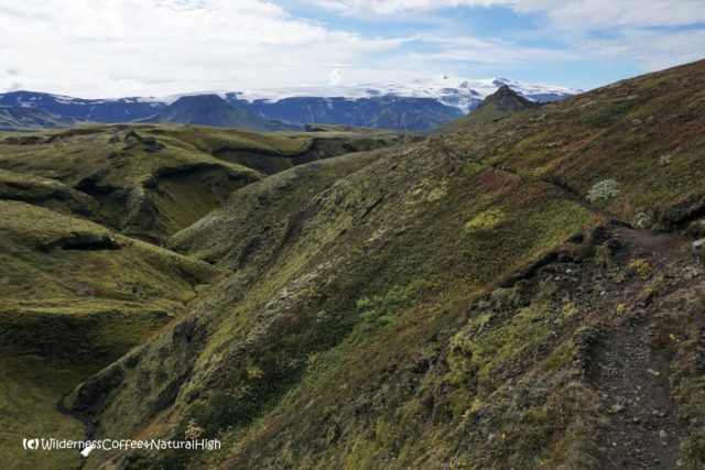 Path along the river valley ridge, hiking trail, Þórsmörk, Iceland