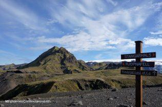 Signpost to Rjúpnafell, hiking trail, Þórsmörk, Iceland