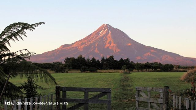 Sunrise on Mount Taranaki, wilderness nature, New Zealand