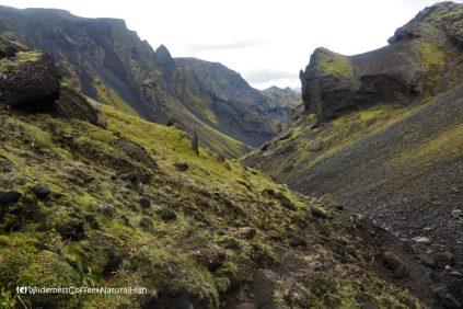 Troll face, Hvannárgil canyon, hiking trail, Þórsmörk, Iceland
