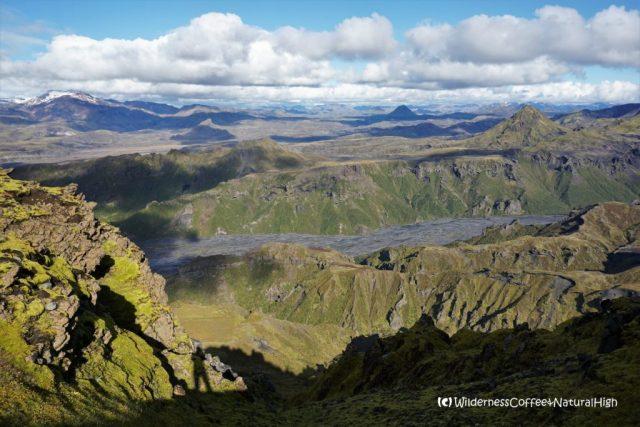 View into the valley of Thórsmörk, hiking trail, Þórsmörk, Iceland
