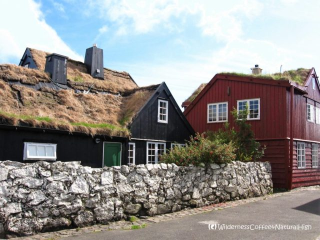 Grassy and colourful houses in Tórshavn, Faroe Islands