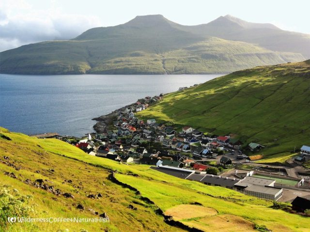 View from Kvívík to Vágar island, Faroe Islands