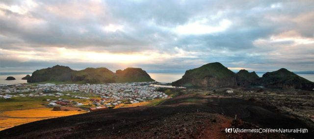View from Eldfell, midnight sunset, Heimaey, Vestmannaeyjar, Iceland