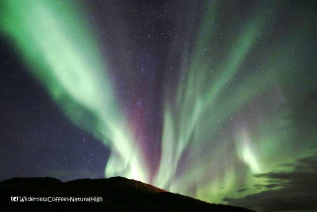 Northern lights above Helgafell, Snæfellsnes, Iceland