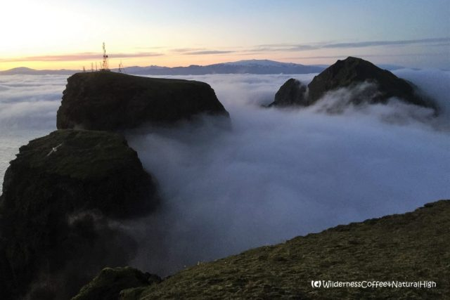 Kletturs disappearing into the fog, Heimaey, Vestmannaeyjar, Iceland