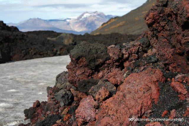 Colourful lava at Fimmvörðuháls, Eyjafjallajökull, Thórsmörk hiking trail, Þórsmörk, Iceland