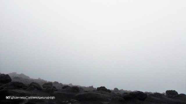 View into the fog-filled craters of Stromboli, Italy
