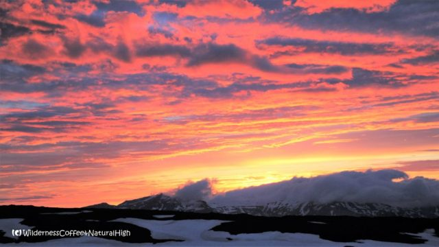 Midnight sunset from Fimmvörðuháls hut, Eyjafjallajökull glacier, Iceland
