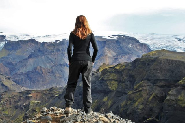 Katla glacier, Fimmvörðuháls walking route, Thórsmörk hiking trail, Þórsmörk, Iceland